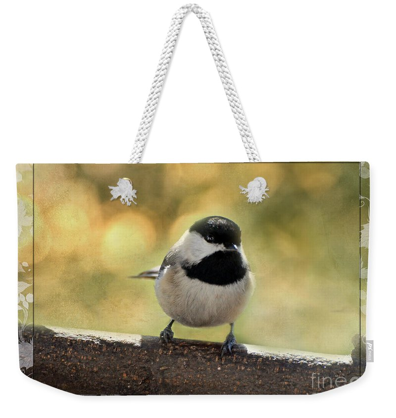 Nature Weekender Tote Bag featuring the photograph Carolina Chickadee With Decorative Frame IIi by Debbie Portwood