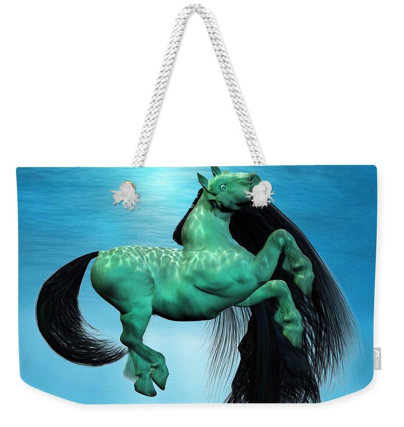 Horse Weekender Tote Bag featuring the digital art Carousel Viii by Betsy Knapp