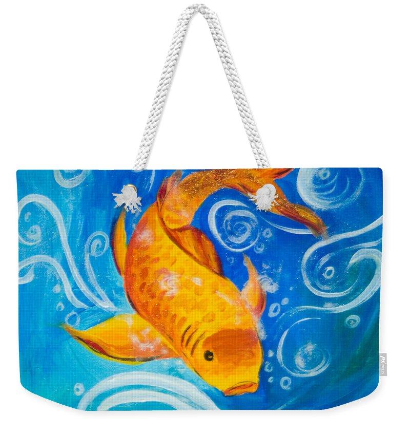 Carp Weekender Tote Bag featuring the painting Carp by Carolyn Osborne