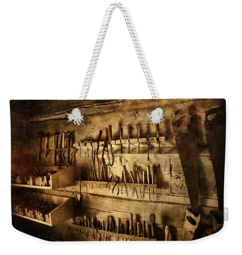 Carpenter's Workroom Weekender Tote Bag featuring the photograph Carpenter's Workroom by Dan Sproul