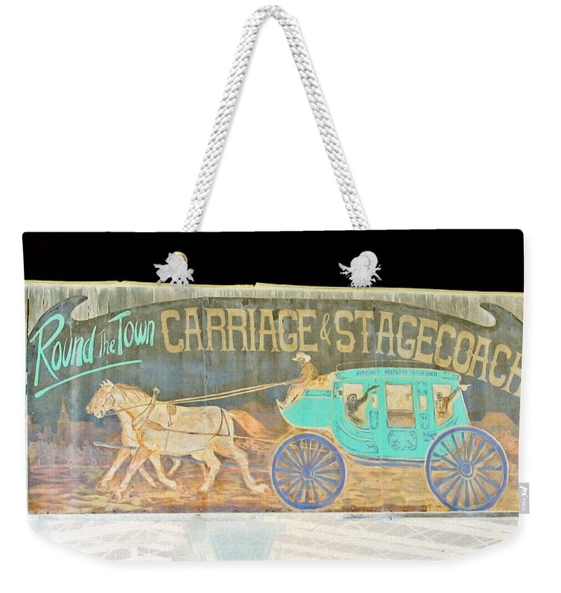 Computer Graphics Weekender Tote Bag featuring the photograph Carriage And Stagecoach Color Invert by Marian Bell