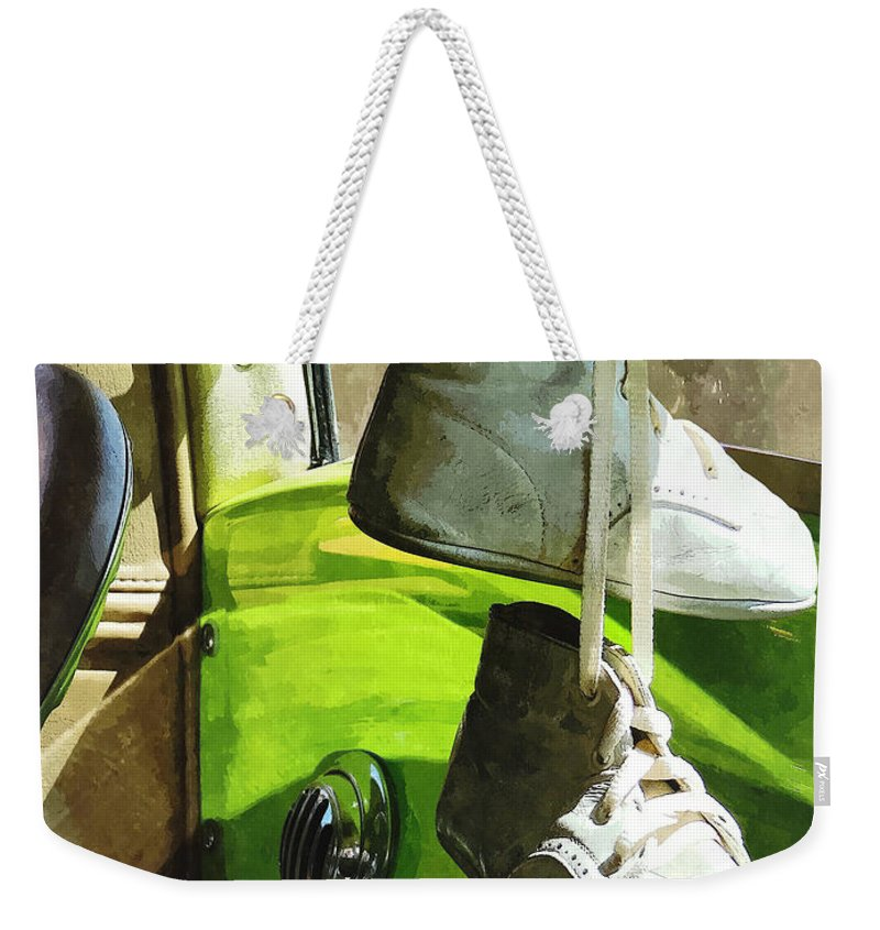Car Weekender Tote Bag featuring the photograph Cars - Baby Shoes by Susan Savad