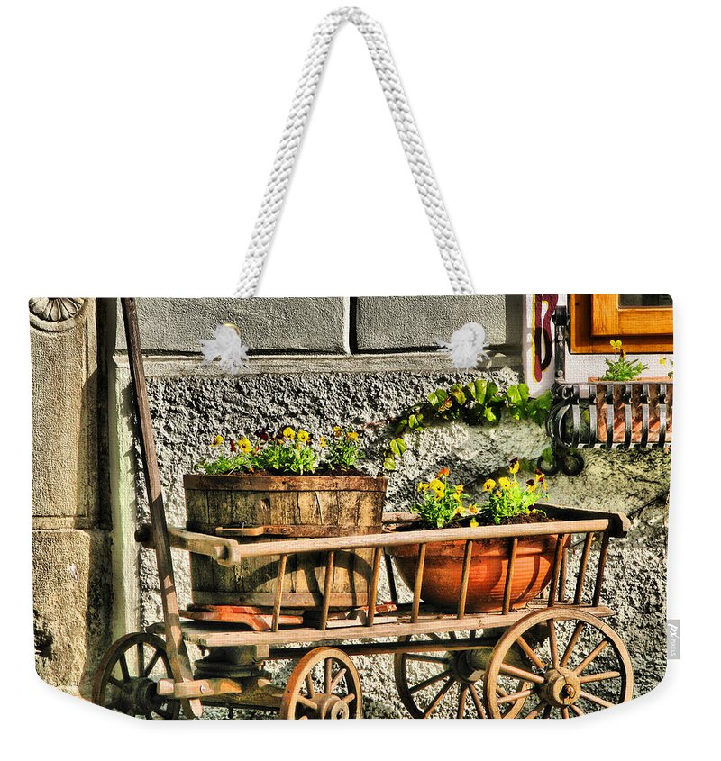 Cart Weekender Tote Bag featuring the digital art Cart And Flowers In Slovenia by Greg Matchick