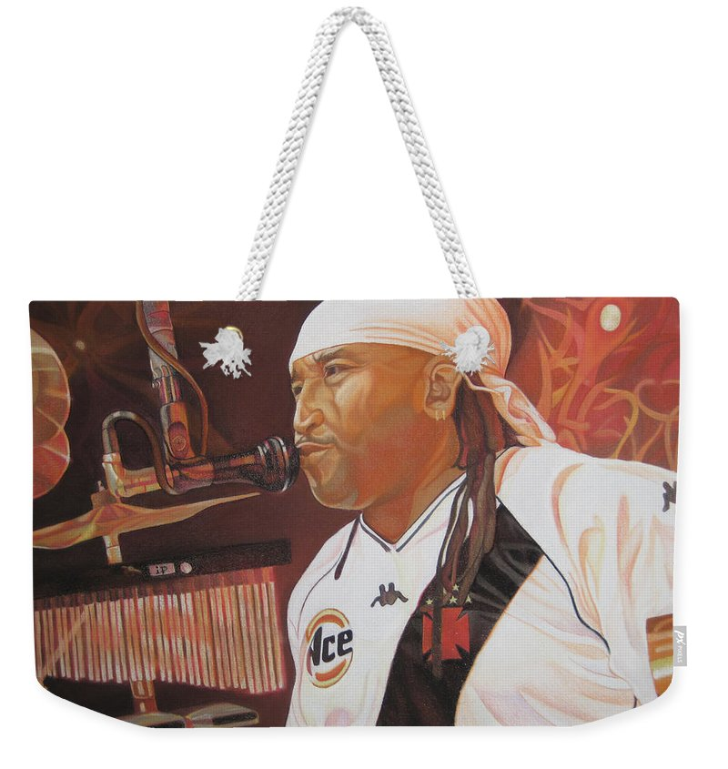 Carter Beauford Weekender Tote Bag featuring the drawing Carter Beauford At Red Rocks by Joshua Morton