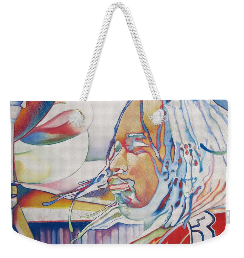 Carter Beauford Weekender Tote Bag featuring the drawing Carter Beauford Colorful Full Band Series by Joshua Morton