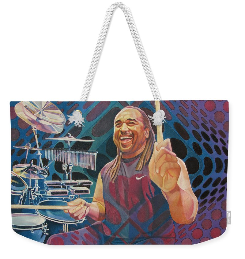 Carter Beauford Weekender Tote Bag featuring the drawing Carter Beauford-op Series by Joshua Morton
