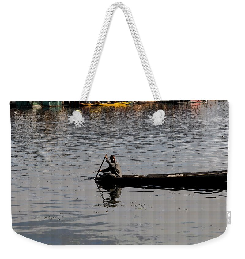 Beautiful Scene Weekender Tote Bag featuring the digital art Cartoon - Kashmiri Man Rowing A Small Wooden Boat In The Waters Of The Dal Lake by Ashish Agarwal
