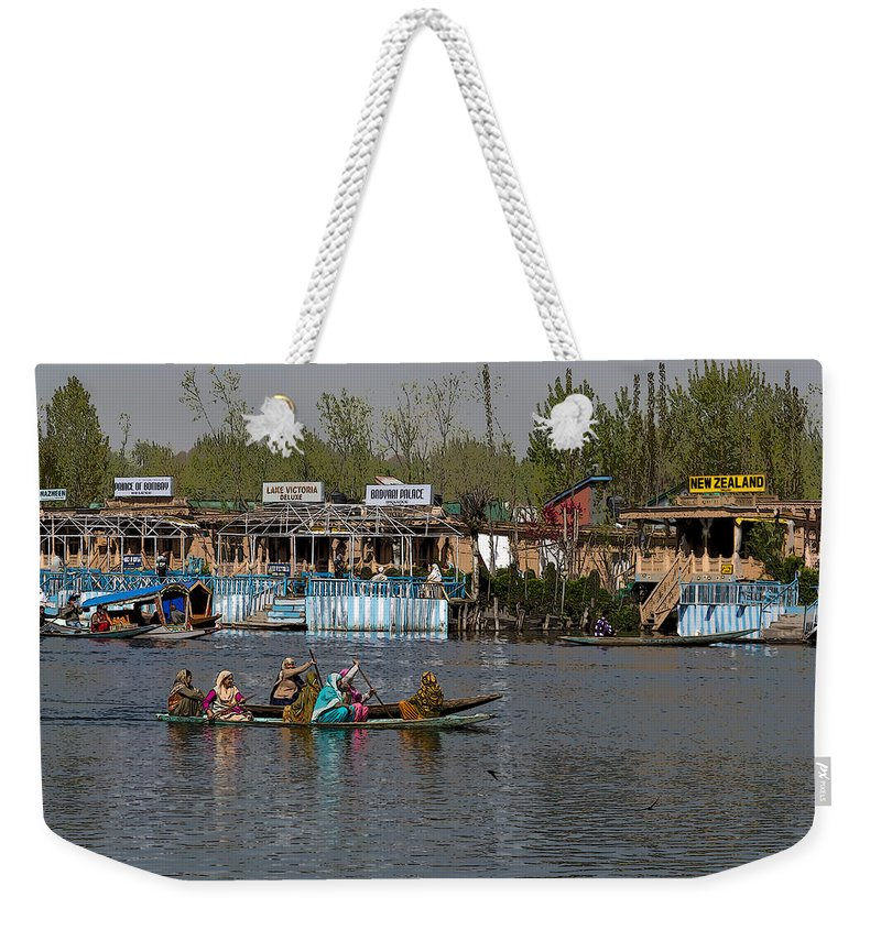 Beautiful Scene Weekender Tote Bag featuring the digital art Cartoon - Ladies On 2 Wooden Boats On The Dal Lake With The Background Of Houseboats by Ashish Agarwal