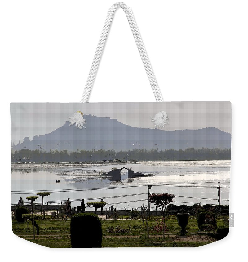 Bush Weekender Tote Bag featuring the digital art Cartoon - Shalimar Garden - The Dal Lake And Mountains In The Background In Srinagar by Ashish Agarwal