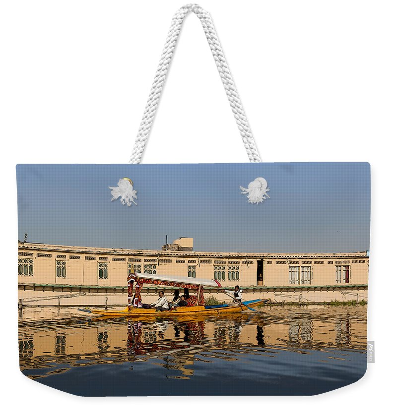 Beautiful Scene Weekender Tote Bag featuring the digital art Cartoon - Shikara With Tourists Passing In Front Of A Large Houseboat In The Dal Lake by Ashish Agarwal