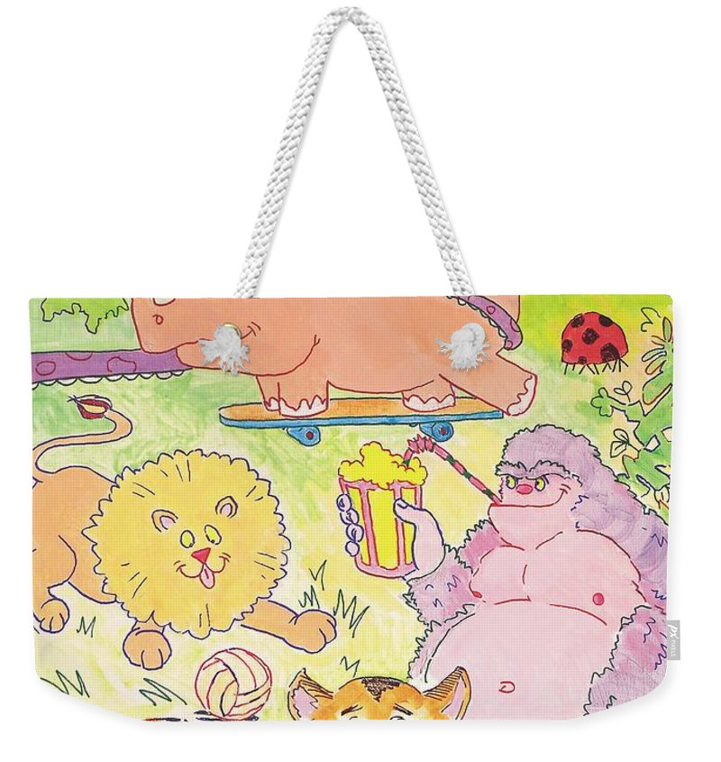 Giraffe Weekender Tote Bag featuring the painting Cartoon Animals by Mike Jory