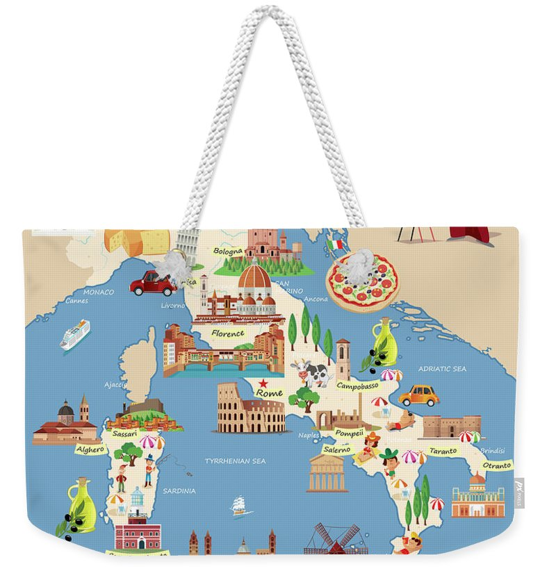 Adriatic Sea Weekender Tote Bag featuring the digital art Cartoon Map Of Italy by Drmakkoy