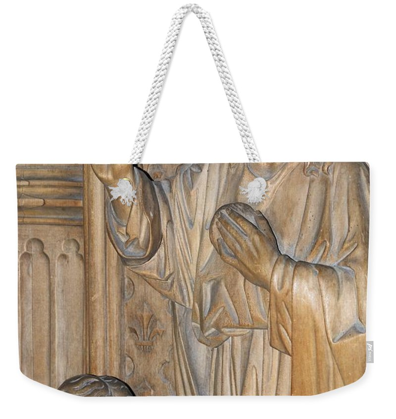 Religion Weekender Tote Bag featuring the photograph Carved In Wood by Wendy Wilton