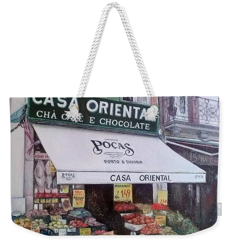 Porto Weekender Tote Bag featuring the painting Casa Oriental-Porto by Tomas Castano