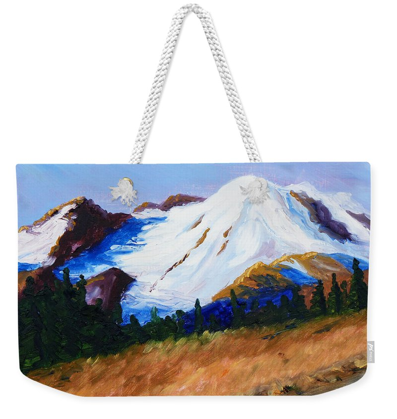Mountain Weekender Tote Bag featuring the painting Cascade by Nancy Merkle