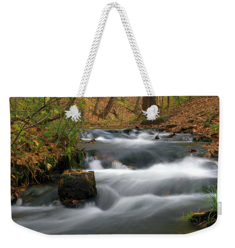 Water Weekender Tote Bag featuring the photograph Cascading by Bonfire Photography