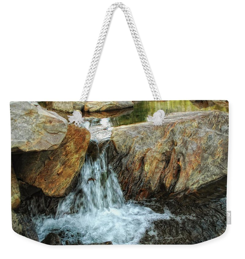 Yuba River Weekender Tote Bag featuring the photograph Cascading Downward by Donna Blackhall