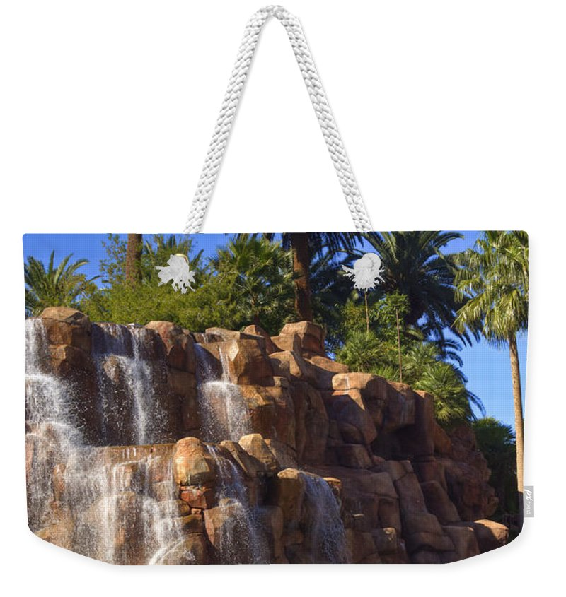 Waterfall Weekender Tote Bag featuring the photograph Cascading Rocky Waterfall by Douglas Barnett