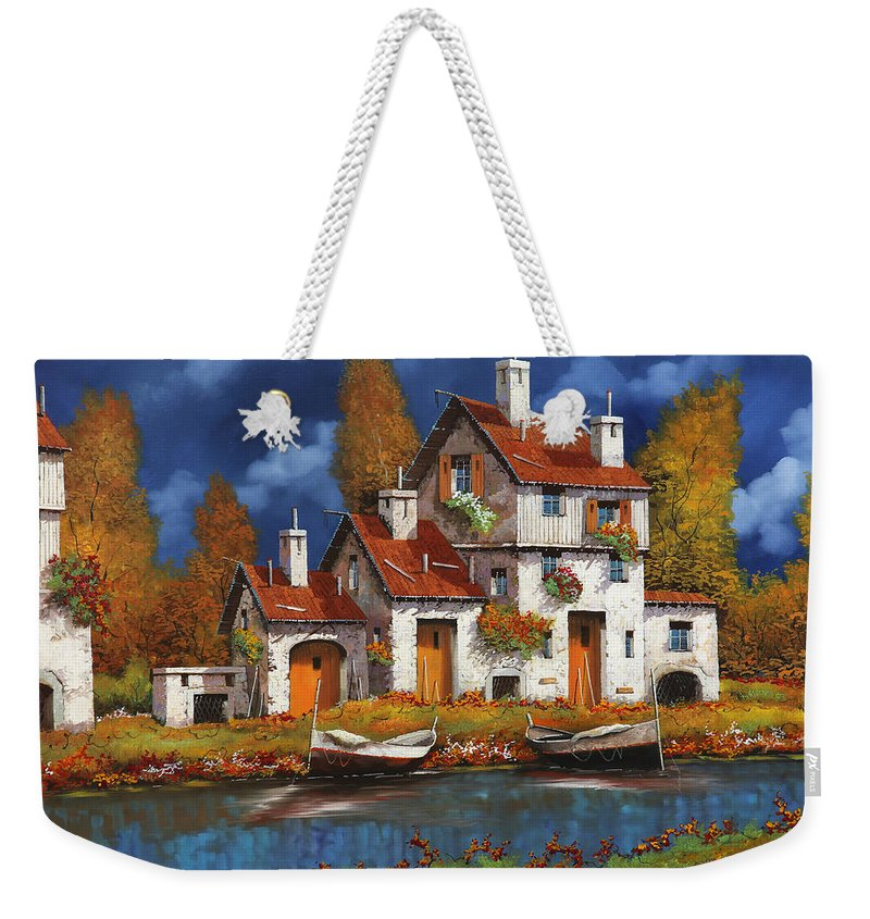 White House Weekender Tote Bag featuring the painting Case Bianche Sul Fiume by Guido Borelli