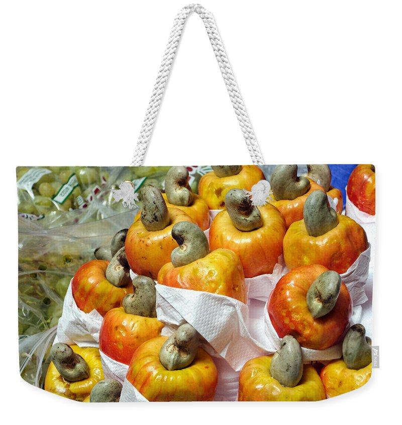 Cashew Weekender Tote Bag featuring the photograph Cashew Fruit - Mercade Municipal by Julie Niemela