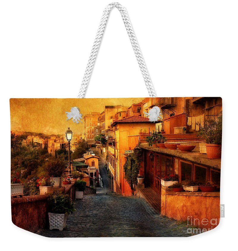 Castel Gandolfo Weekender Tote Bag featuring the photograph Castel Gandolfo Italy by Mike Nellums