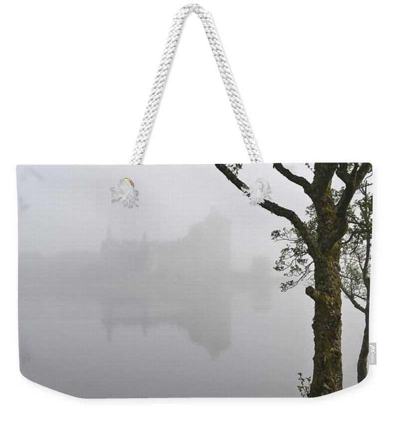 Mist Weekender Tote Bag featuring the photograph Castle Kilchurn Tree by Gary Eason