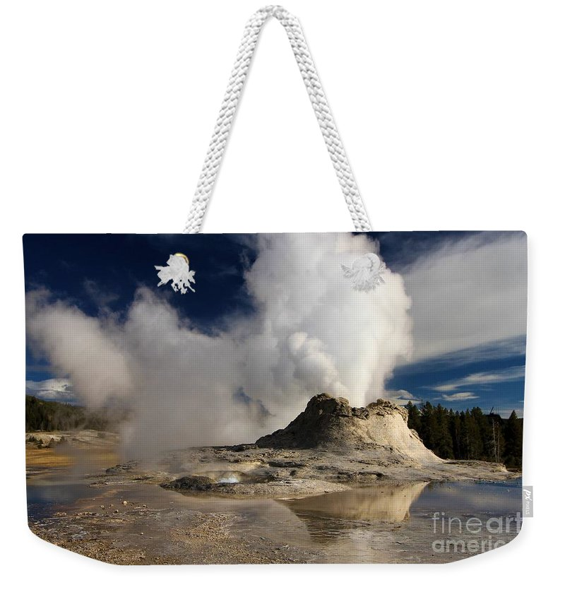 Castle Geyser Weekender Tote Bag featuring the photograph Castle Mirror by Adam Jewell