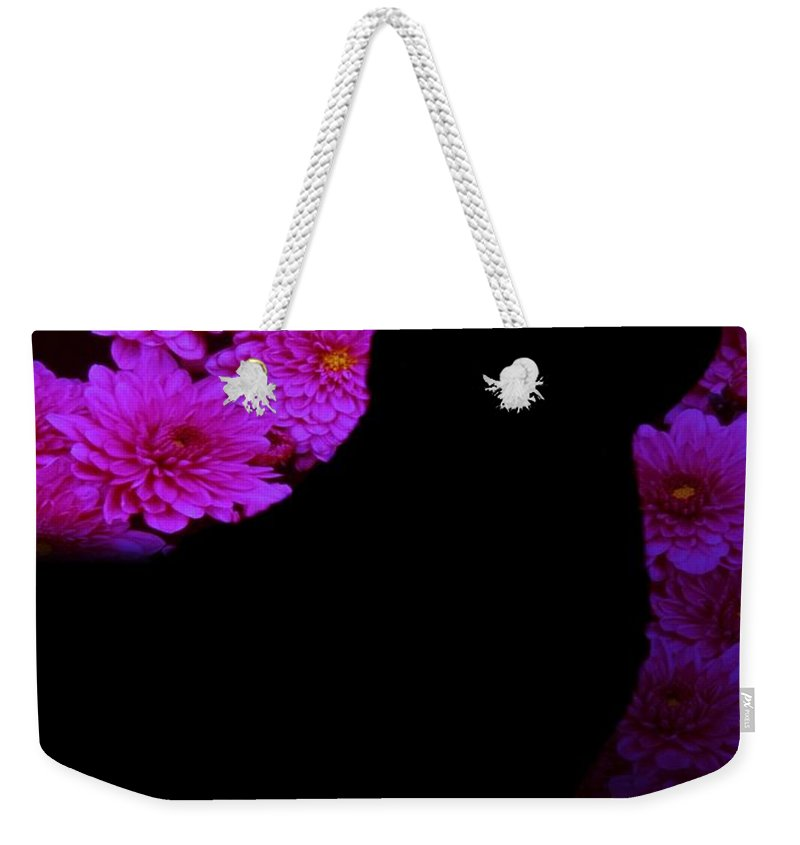 Fractal Art Weekender Tote Bag featuring the digital art Cat And Flowers Midnight Silhouette by Elizabeth McTaggart