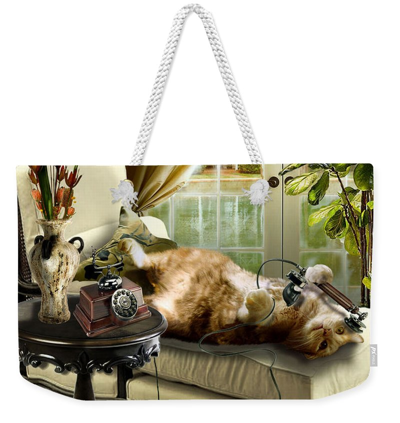 Pet Cat Painting Weekender Tote Bag featuring the painting Funny pet talking on the phone by Regina Femrite