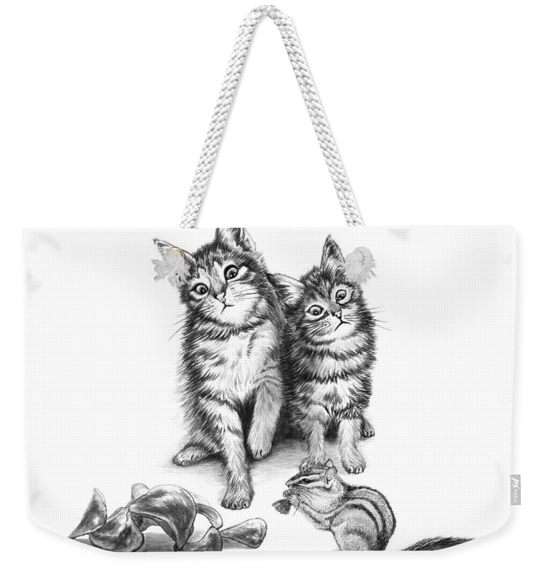 Cat Chips Weekender Tote Bag featuring the drawing Cat Chips by Peter Piatt