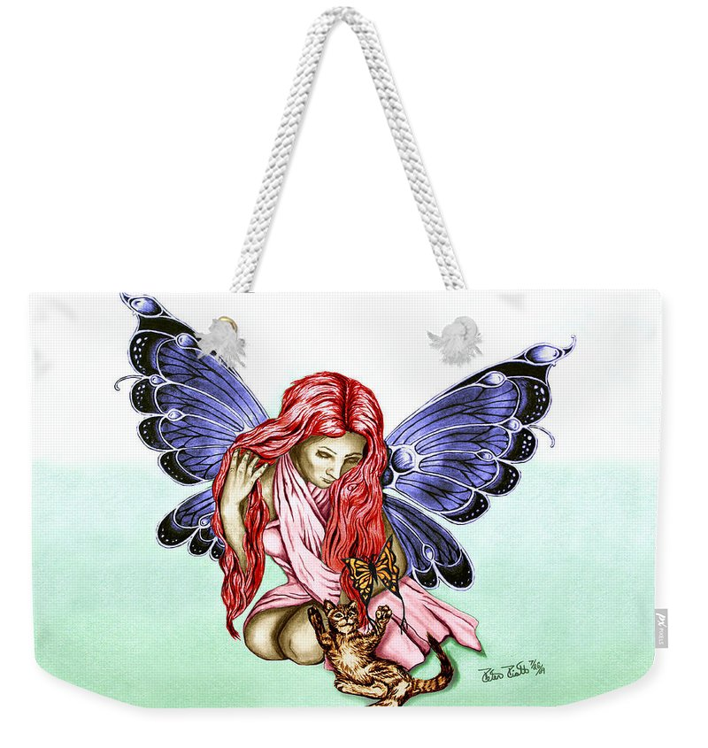 Cat Fairy Weekender Tote Bag featuring the drawing Cat Fairy In Blue by Peter Piatt