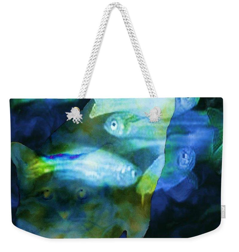 Fractal Art Weekender Tote Bag featuring the digital art Cat Fishing At Night by Elizabeth McTaggart