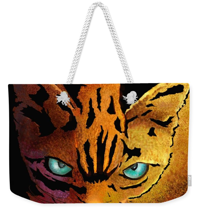 Cat Prints Weekender Tote Bag featuring the digital art Cat. I'm Watching You by Marlene Watson