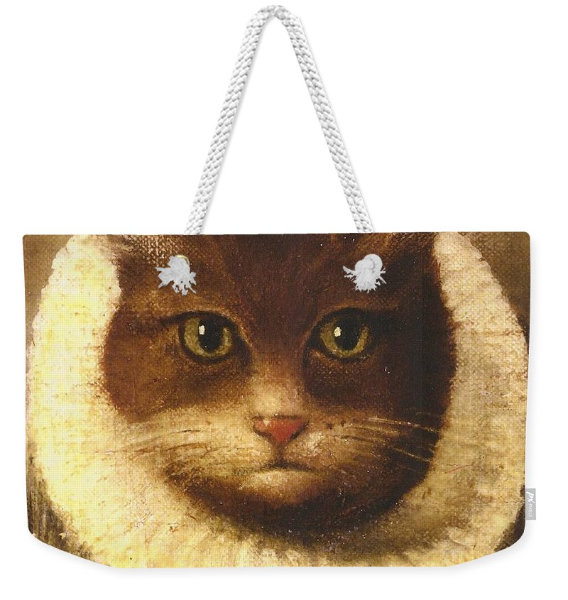 Vintage Art Weekender Tote Bag featuring the painting Cat In A Ruff by Vintage Art