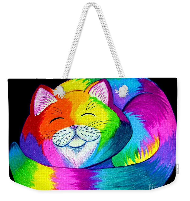 Cat Art Weekender Tote Bag featuring the drawing Cat Napping 2 by Nick Gustafson