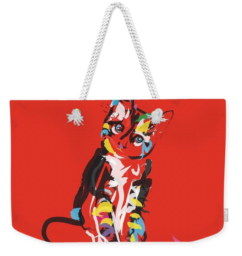 Pet Weekender Tote Bag featuring the painting Cat Prins by Go Van Kampen