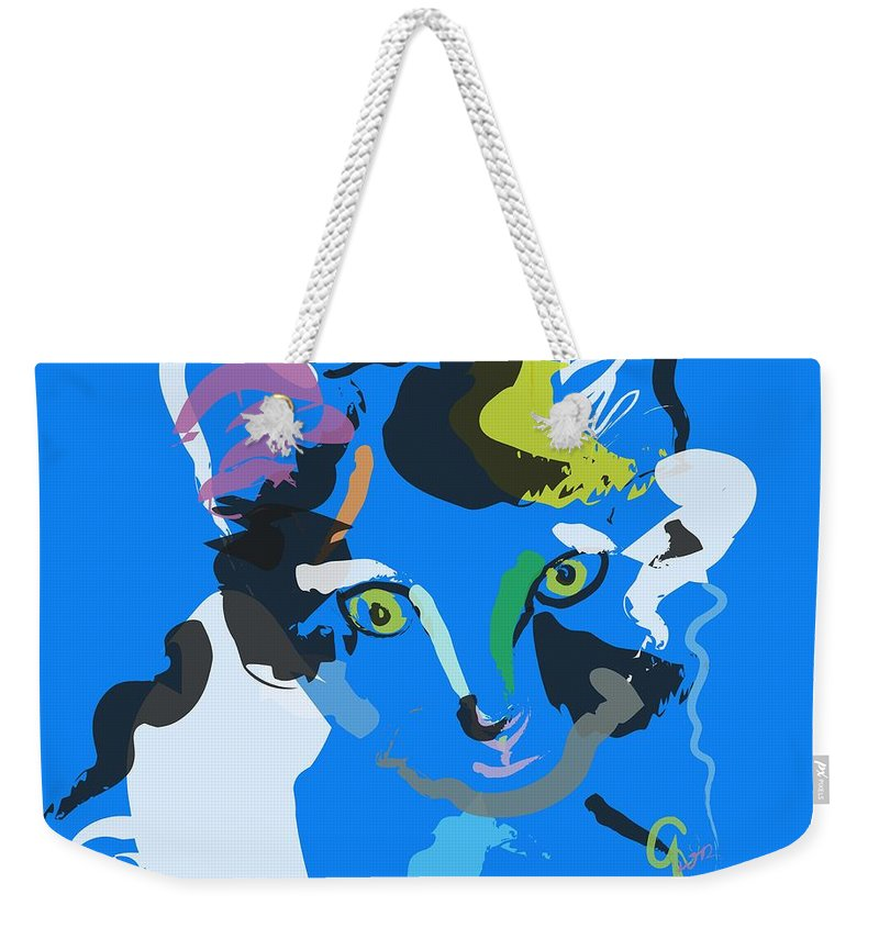 Pet Weekender Tote Bag featuring the painting Cat Sam by Go Van Kampen