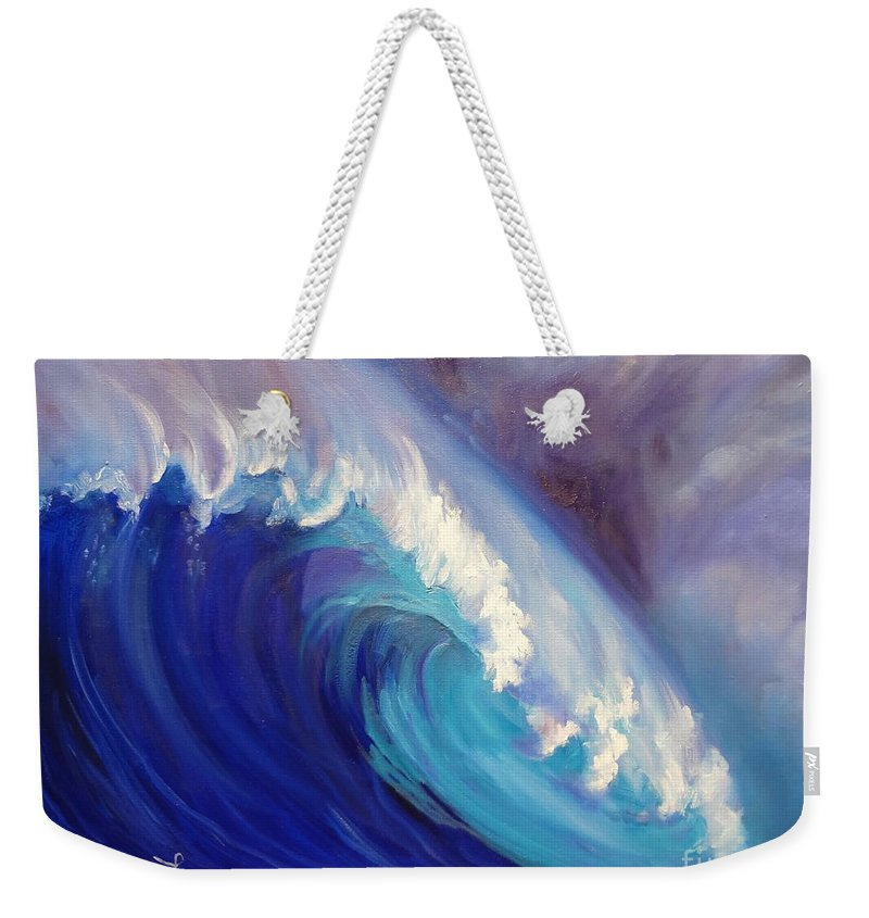 Wave Print Weekender Tote Bag featuring the painting Catch Another Wave by Jenny Lee