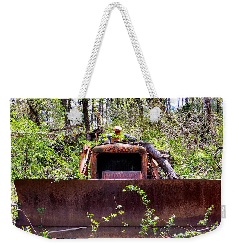 Caterpillar Weekender Tote Bag featuring the photograph Caterpillar Rough by Art Dingo