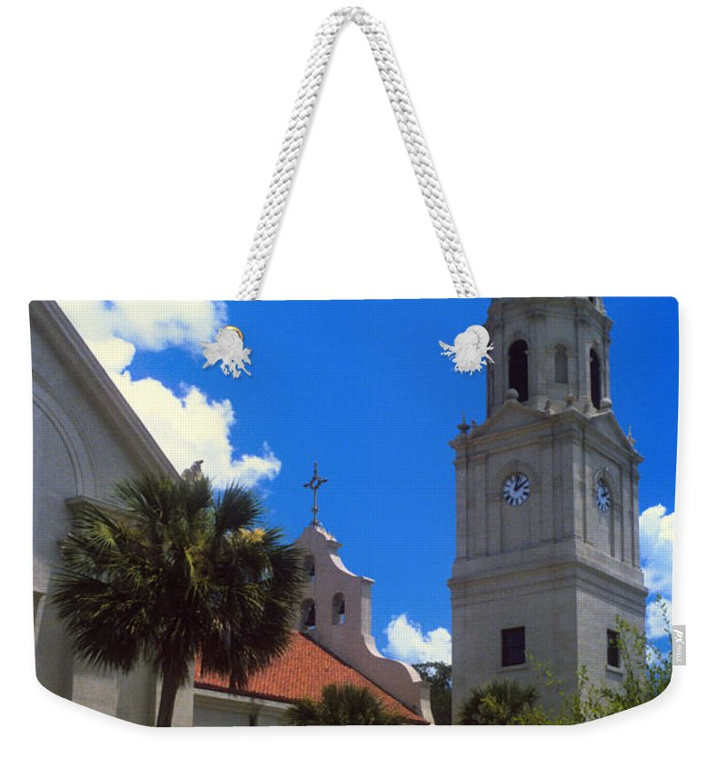 Cathedral Basilica St. Saint Augustine Florida Cathedrals Church Churches Building Buildings Structure Structures Architecture City Cities Cityscape Cityscapes Bell Tower Towers Weekender Tote Bag featuring the photograph Cathedral Basilica by Bob Phillips