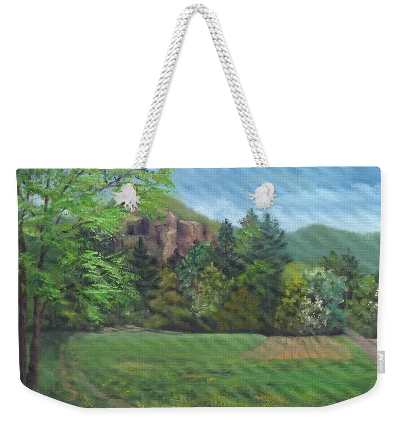Cathedral Ledge Weekender Tote Bag featuring the painting Cathedral Ledge from Westside Road by Sharon E Allen