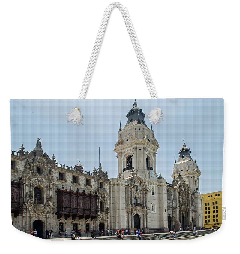 Lima Weekender Tote Bag featuring the photograph Cathedral Of Lima by Allen Sheffield