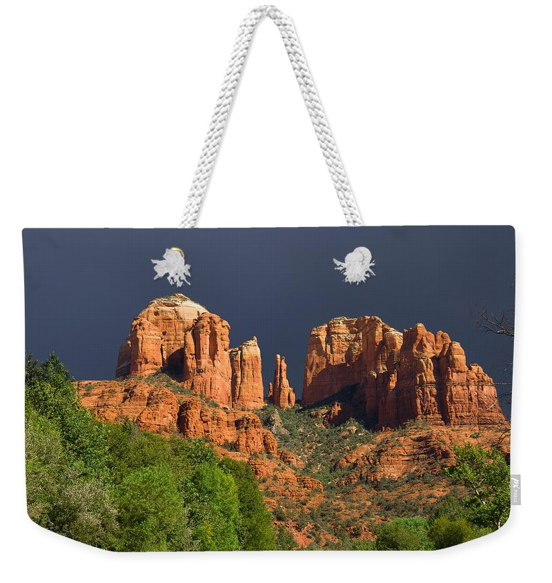 Red Rocks Weekender Tote Bag featuring the photograph Cathedral Rock Before The Storm by Alexey Stiop