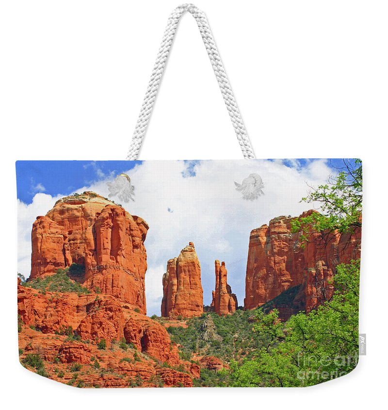 Scenic Weekender Tote Bag featuring the photograph Cathedral Rock by Bob Hislop