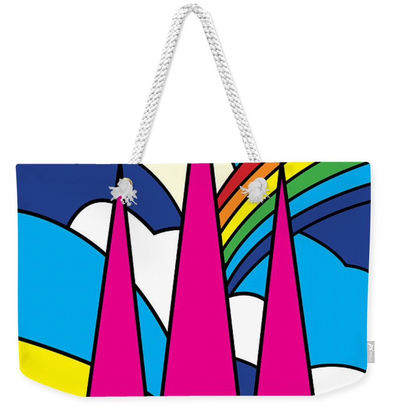 Autumn Weekender Tote Bag featuring the painting Cathedral Spires Stained Glass Lichfield by Neil Finnemore