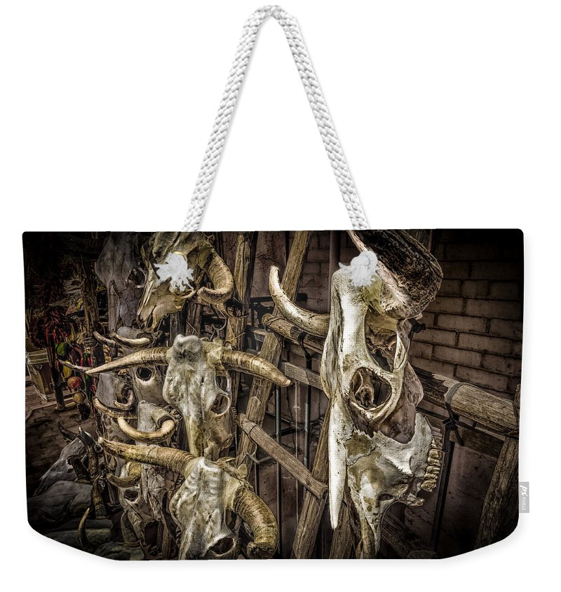 Skulls Weekender Tote Bag featuring the photograph Cattle Skulls On Display In Santa Fe by Gareth Burge Photography