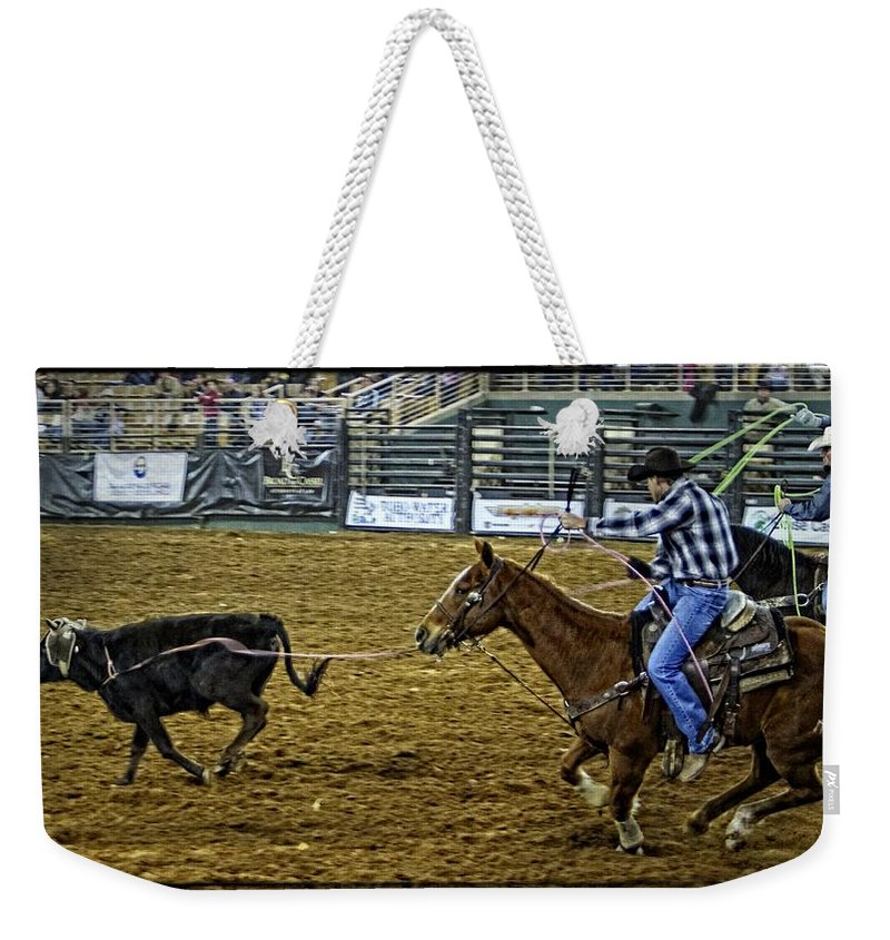 Calf Roping Weekender Tote Bag featuring the photograph Caught Calf by Alice Gipson