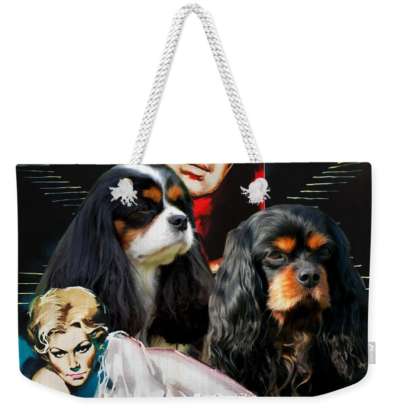 Dog Weekender Tote Bag featuring the painting Cavalier King Charles Spaniel Art - Vertigo Movie Poster by Sandra Sij