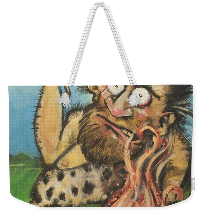 Steak Weekender Tote Bag featuring the painting Caveman And Fire by Tim Nyberg