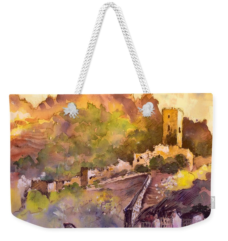 Travel Weekender Tote Bag featuring the painting Cazorla Castillo 01 by Miki De Goodaboom